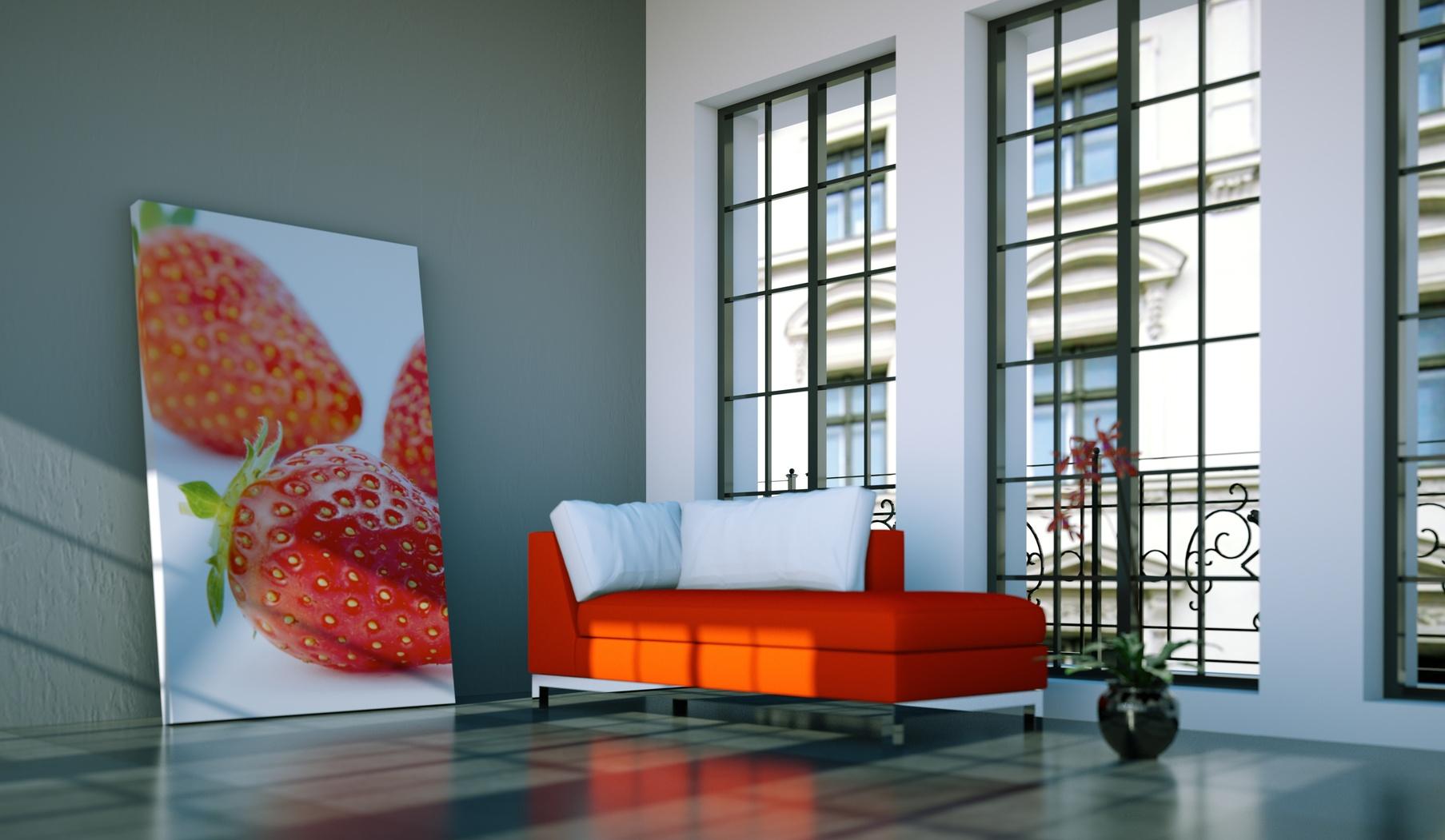 Wohndesign – rotes Sofa im Loft | 3D Trendline